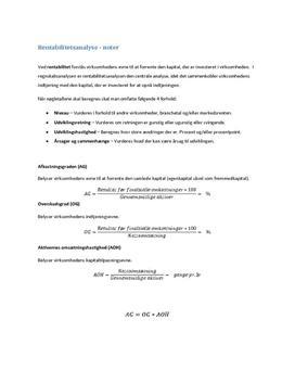 Rentabilitetsanalyse noter
