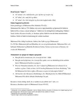 """Noter til """"Religion og kultur - en grundbog"""" om islam"""