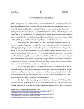 Civilisationernes sammenstød Redegørelse og diskussion
