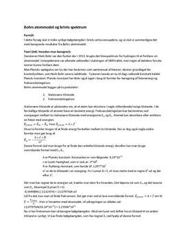 Bohrs atommodel og hydrogens spektrum - Rapport i Atomfysik