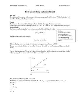 Resistansens temperaturafhængighed - Rapport i Fysik