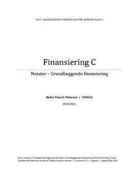 Notater til Finansiering C