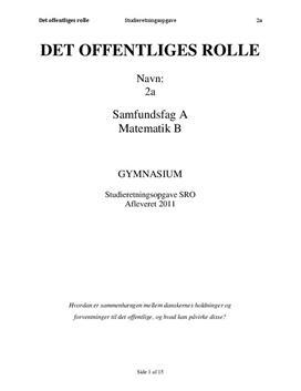 SRO om det offentliges rolle | Samfundsfag A og Matematik B