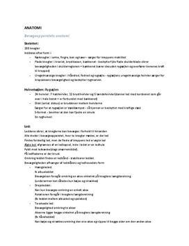 Bevægeapparatets anatomi | Noter