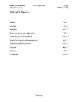 SRO: Valgsystemer, D'Hondt'ske metode   Matematik B Samfundsfag B