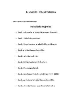 Industrialiseringen i Danmark - Arbejderklassens levevilkår