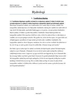 Hydrologi - Vandbalanceligningen og grundvand