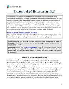 analyserende artikel dansk eksempel