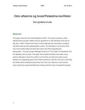 SRP om Oslo-Aftalerne og Israel-Palæstina Konflikten