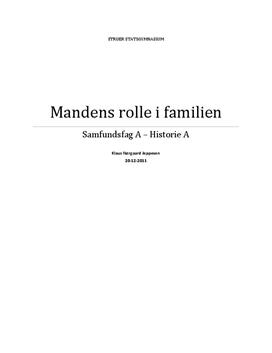 SRP: Mandens Rolle i Familien i Historie A og Samfundsfag A