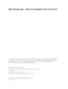 SRP om Outsourcing i VØ og IØ
