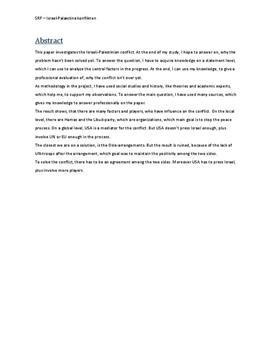 SRP: Staten Israel og Israel-Palæstina Konflikten i Samf A og Historie A