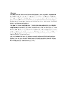 SRP: Menneskerettigheder i Kina i Historie og Samfundsfag