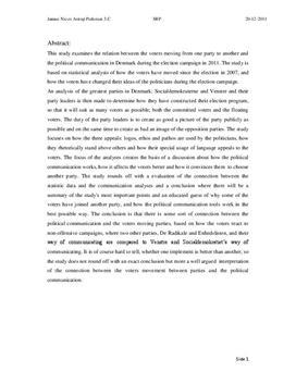 SRP: Politisk Kommunikation i 2011 i Samfundsfag og Dansk