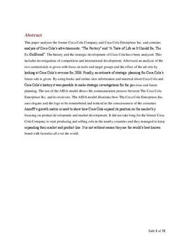 SOP om Coca Cola i Virksomhedsøkonomi A og Afsætning A