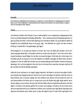 Ascorbinsyreindholdet i Vitamin C - Rapport i Kemi
