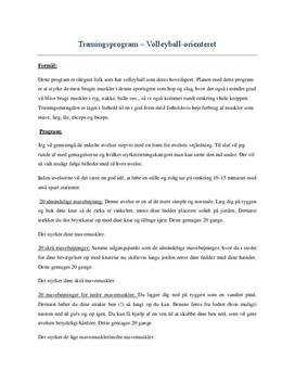 Styrketræningsprogram til Volleball i Idræt