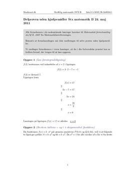 Stx Matematik B 24. maj 2011 | Uden hjælpemidler