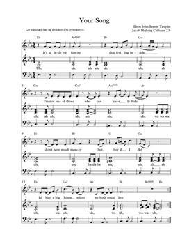 Your Song - Elton John Rytmiseret Flydekor og Standard-bas