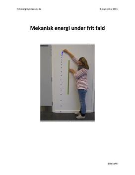 Frit fald - Mekanikkens energisætning - Rapport i Fysik A