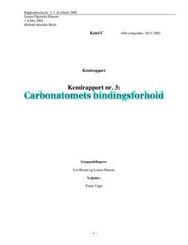Carbonatomets Bindingsforhold - Rapport i Kemi