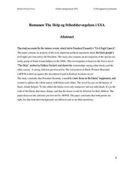 """SRP om """"The Help"""" og Frihedsbevægelsen i USA i Engelsk og Historie"""