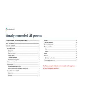 Analysemodel til poem i Engelsk