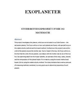 SRP om Exoplaneter i Fysik A og Matematik A