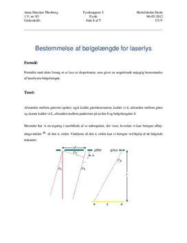 Forsøg med laser - Bestemmelse af Bølgelængde