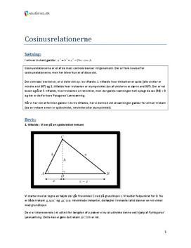 Bevis for cosinusrelationerne til eksamen i mundtlig matematik