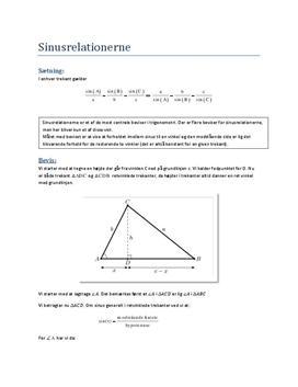 Bevis for sinusrelationerne til eksamen i mundtlig matematik
