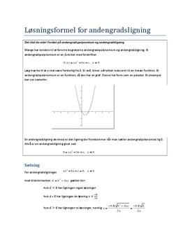 Bevis for løsningsformlen for andengradsligningen (mundtlig matematik eksamen)