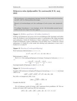 Stx Matematik B 31. maj 2012 - Delprøven uden hjælpemidler