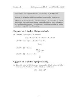 matematik b uden hjælpemidler noter