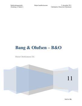 SOP: Bang & Olufsen | Dansk A og Afsætning A