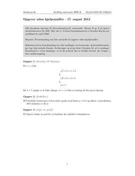 opgaver uden hjælpemidler matematik b