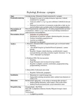 Socialpsykologi | Synopsis i Psykologi B