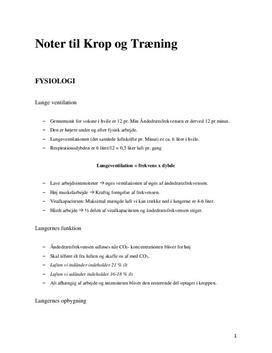 Noter til Krop og Træning i Idræt B - Alle Kapitler