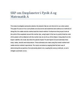 Eksempel på Abstract i Fysik og Matematik fra SRP