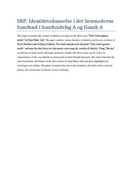 Eksempel på Abstract i Samfundsfag og Dansk fra SRP