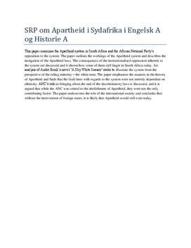 Eksempel på Abstract i Engelsk og Historie fra SRP
