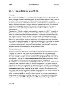 us election obama and romney resume af 2 debat i 2012