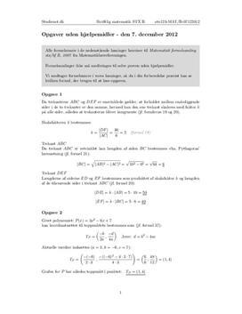 STX Matematik B 7. December 2012 - Delprøven uden hjælpemidler