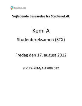 STX Kemi A 17. august 2012 - Vejledende besvarelse