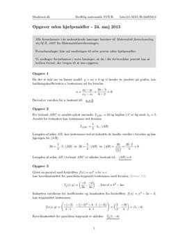 STX Matematik B 24. maj 2013 - Delprøven uden hjælpemidler