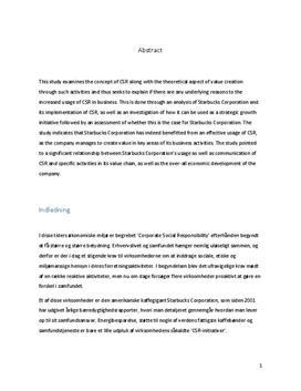 SOP om Corporate Social Responsibility og Starbucks