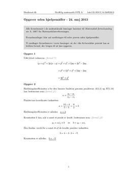 STX Matematik A 24. maj 2013 - Delprøven uden hjælpemidler