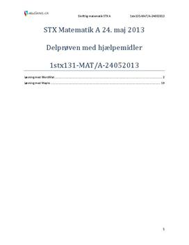 STX Matematik A 24. maj 2013 - Delprøven med hjælpemidler