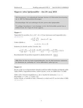 STX Matematik A 29. maj 2013 - Delprøven uden hjælpemidler