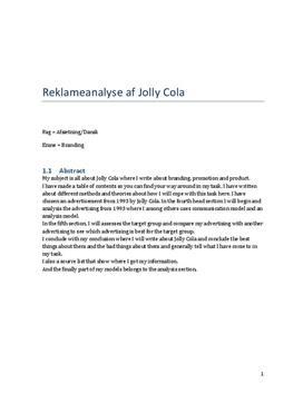 SRO om Jolly Cola i Afsætning og Dansk